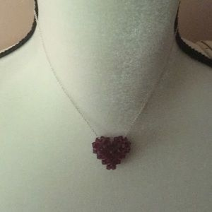 Lovely  delicate Ruby Heart silver chain necklace